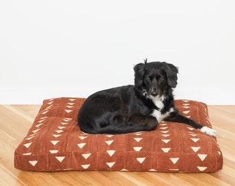 Rust Mudcloth Dog Bed // Large