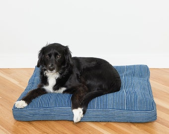 Indigo Striped Mudcloth Dog Bed // Medium