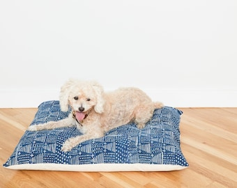 Indigo Mudcloth Floor Pillow Dog Bed // Medium