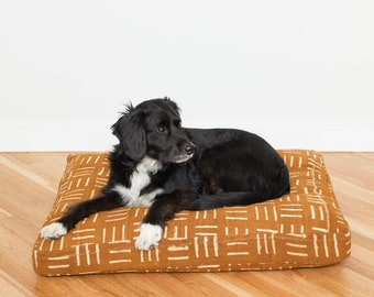 Mustard Mudcloth Dog Bed // Medium