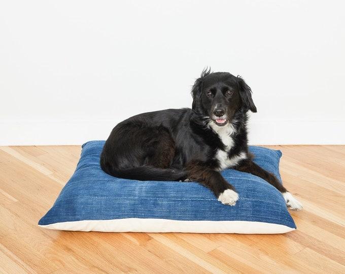 Indigo Mudcloth Floor Pillow Dog Bed // Medium