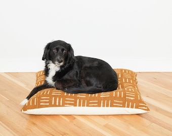 Mustard Mudcloth Floor Pillow Dog Bed // Medium