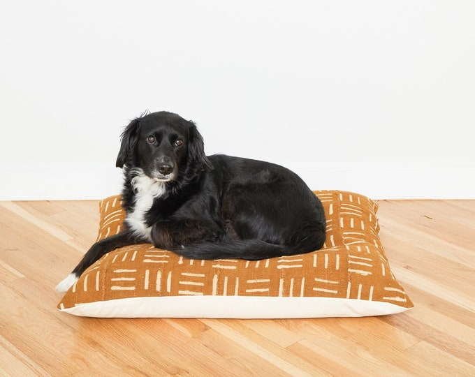 Mustard Mudcloth Floor Pillow Dog Bed // Large