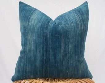 Set of Two Indigo Mudcloth Pillow Covers / Made To Order / 24x24