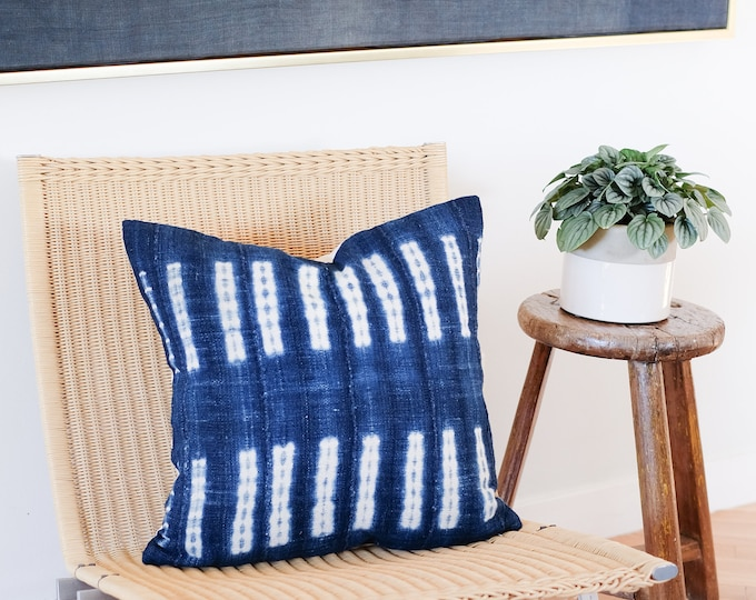 Dark Indigo Shibori Pillow Cover  |  20x20
