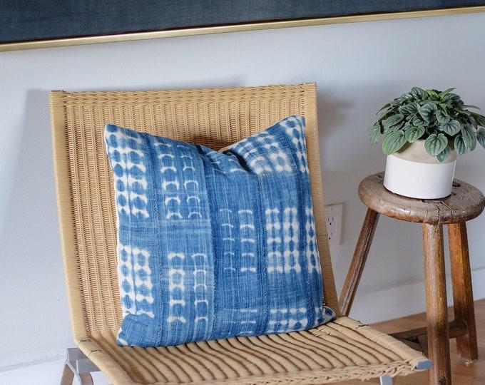 Faded Indigo Shibori Pillow Cover  |  20x20