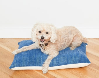 Indigo Mudcloth Floor Pillow Dog Bed // Small