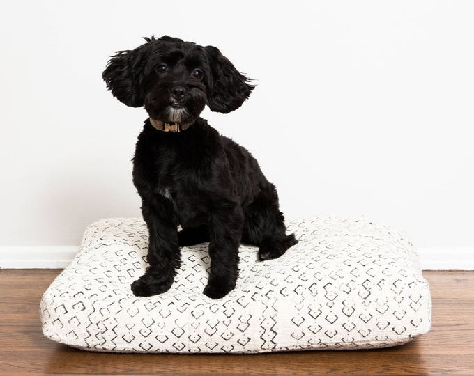 White and Black Mudcloth Dog Bed // Small