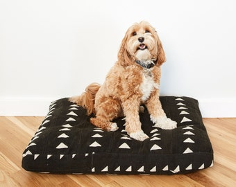 Black and White Mudcloth Dog Bed // XXL