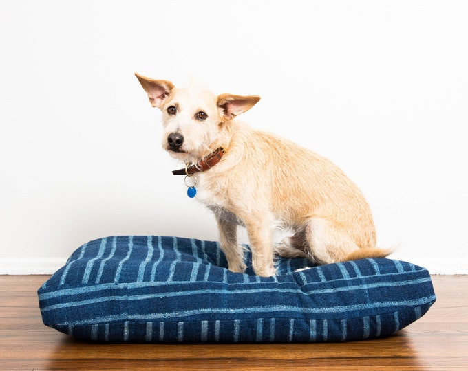 RESERVED for Aastha: Indigo Striped Mudcloth Dog Bed // Medium