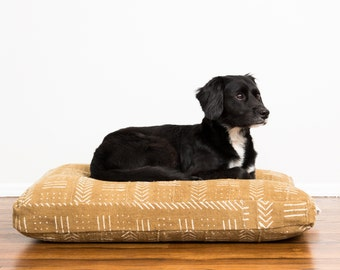 Sand Mudcloth Dog Bed // Large