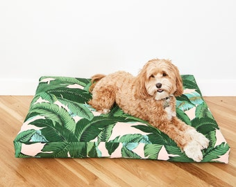 Pink Palm Frond Dog Bed // Made to Order