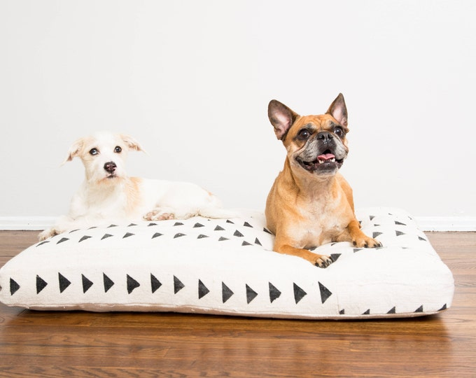 White and Black Mudcloth Dog Bed | Medium | Made To Order