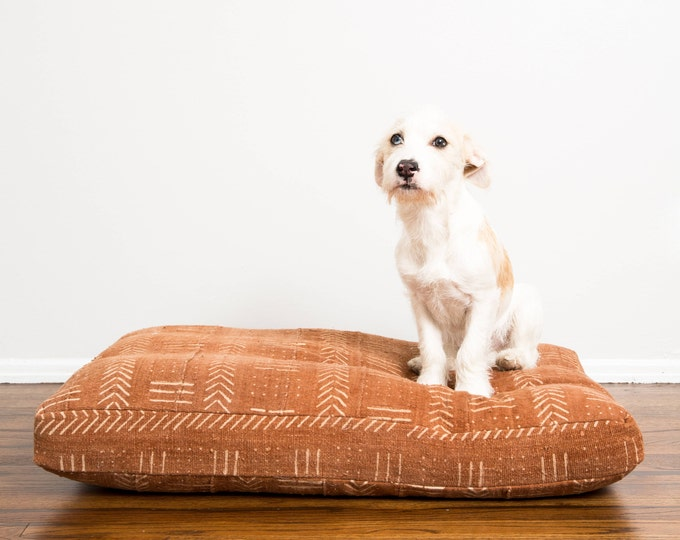 Rust Mudcloth Dog Bed // Extra Large