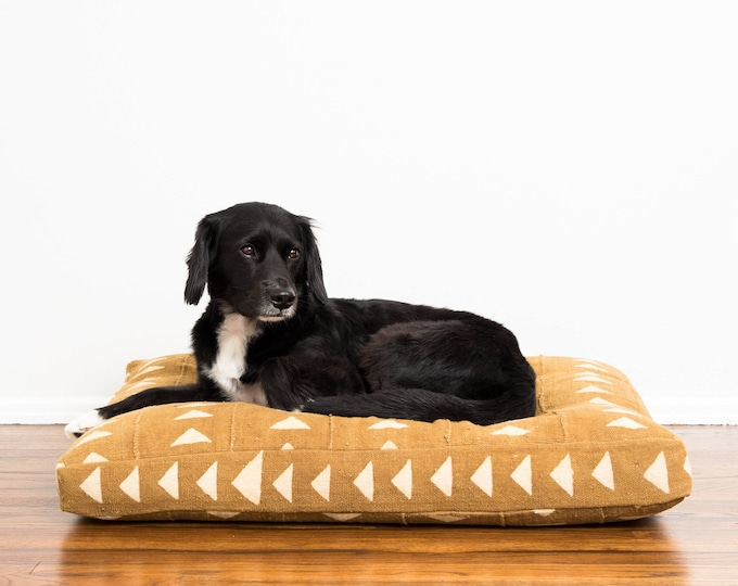 Sand Mudcloth Dog Bed // Medium