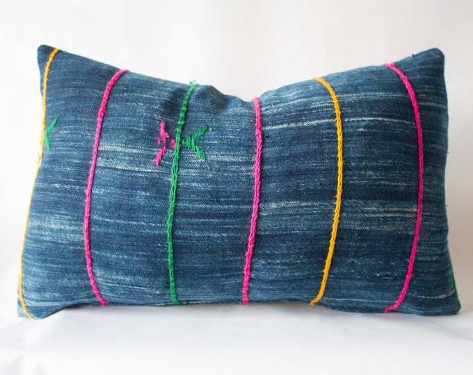 Rainbow Indigo Pillow Cover / 14x23