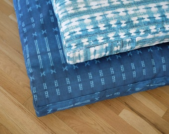 Printed Indigo Shibori Dog Bed COVER ONLY  |  Made To Order  |  Durable Pet Bed