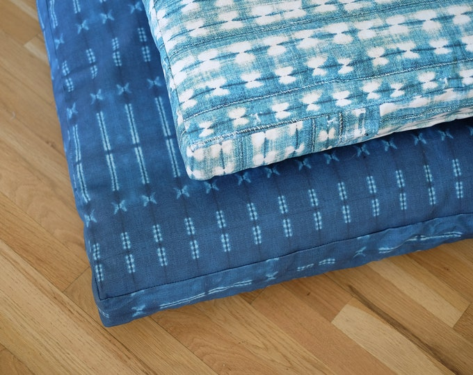 Printed Indigo Shibori Dog Bed     Quick Ship     Durable Pet Bed