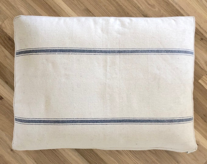 Grain Sack Dog Bed with Navy Stripe // Made to Order