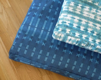 Custom Dog Bed for Cindy // Printed Indigo Shibori // Light Blue