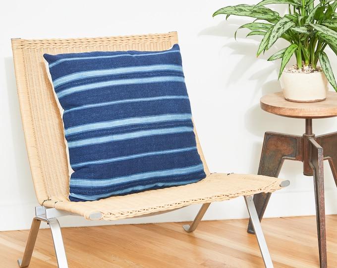 Indigo Striped Mudcloth Pillow Cover / 20x20 / Navy Blue
