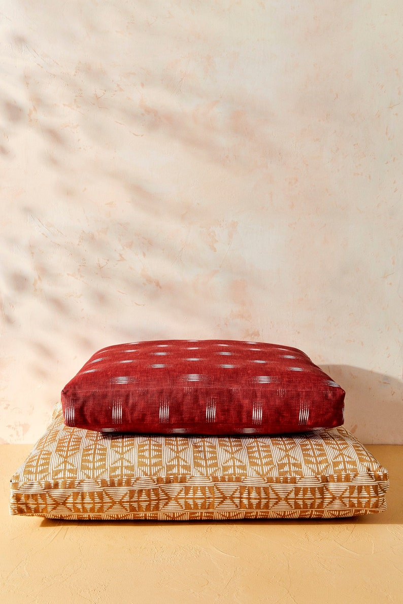 House of Harlow 1960 Creator Collab    Burgundy Ikat Dog Bed image 0