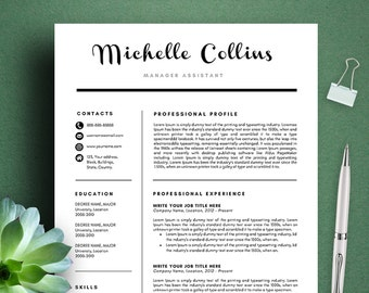michelle modern resume template cv template cover letter professional and creative resume teacher resume word resume instant download