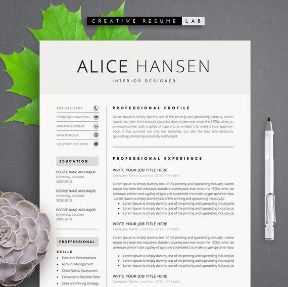 Alice Modern Resume Template Cv Template Cover Letter Etsy