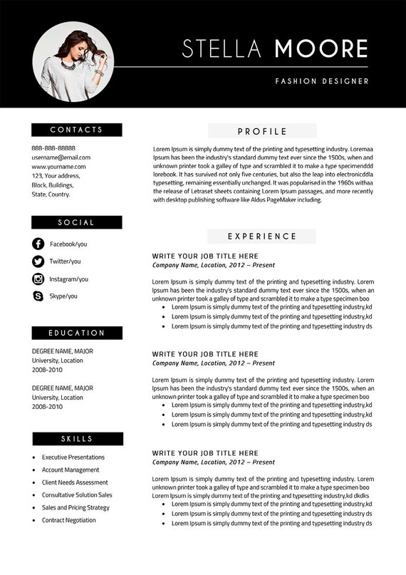 Stella Modern Resume Template / CV Template + Cover Letter | Professional  and Creative Resume Teacher Resume Word Resume Instant Download
