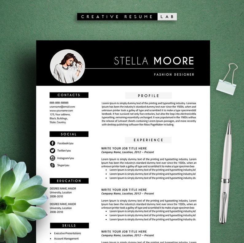 Sarah Modern Resume Template  CV Template Cover Letter Professional and Creative Resume Teacher Resume Word Resume Instant Download