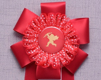 HUGS AND KISSES Valentine Rosette Award,Handmade Valentine, Custom Valentine, Cupid Valentine, Unique Valentine Card