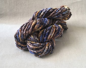 Blue and Orange Handspun Art Yarn, Recycled Cotton Fabric Art Yarn, Corespun Cotton Yarn, Multicolor Art Yarn