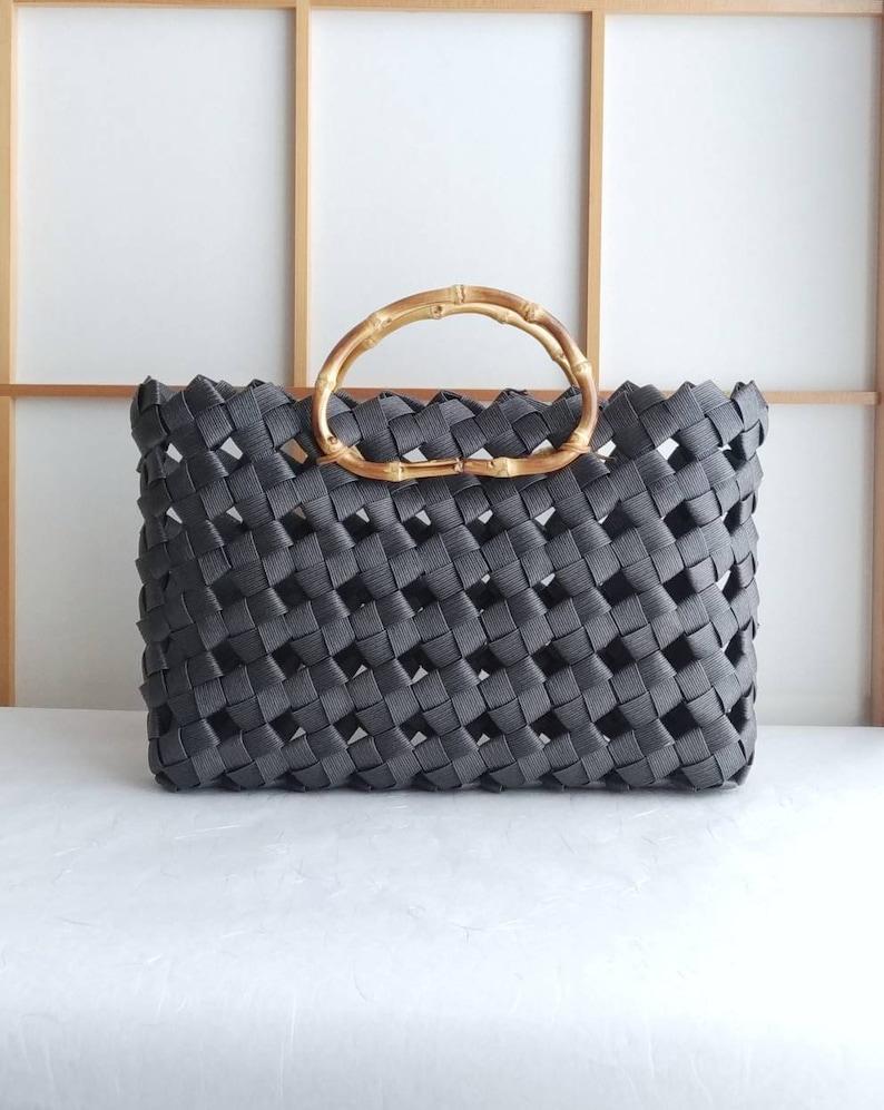black black bag handbag Japan woven handbag bag Black handbag eco friendly bag woven bag bamboo sustainable bag large