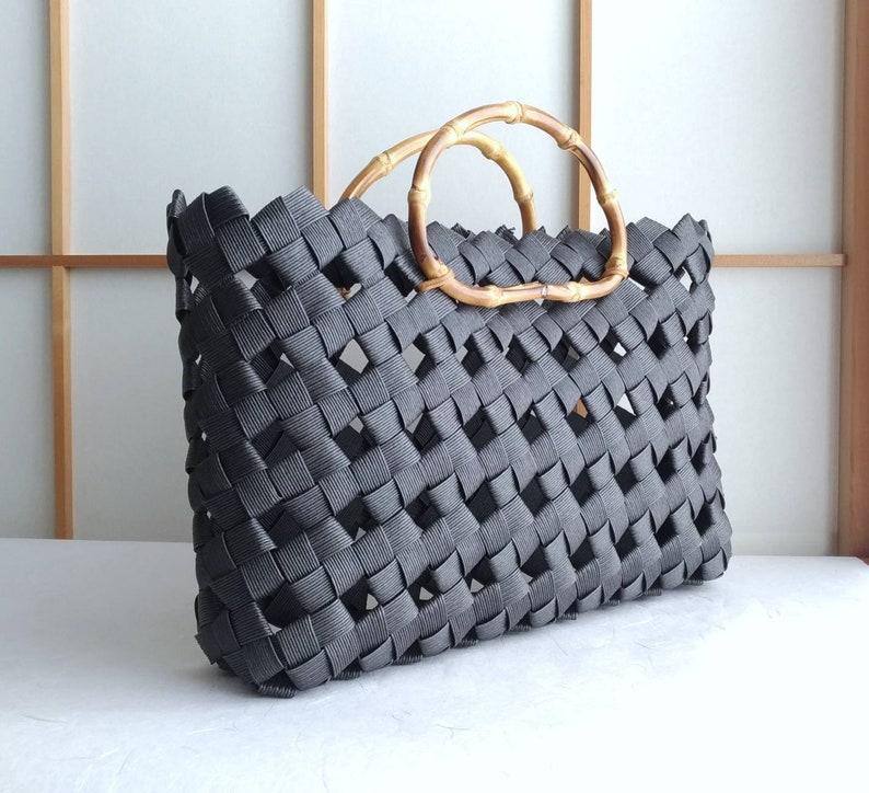 woven bag sustainable bag bag large black eco friendly bag handbag woven handbag Black handbag black bag Japan bamboo