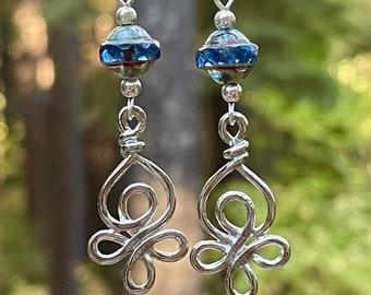 Blue crystal earrings silver earrings Celtic earrings crystal jewelry silver jewelry Crystal earrings