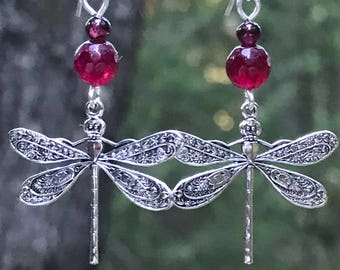 Silver dragonfly earrings, dragonfly earrings, dragonfly jewelry