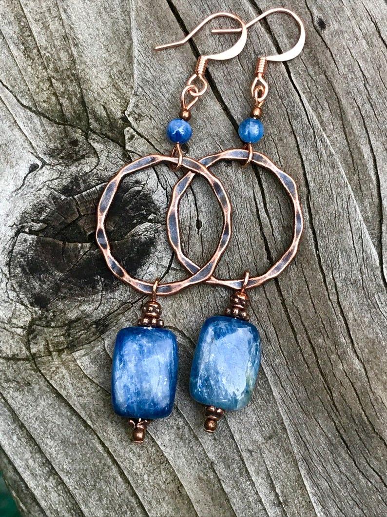 blue gemstone copper jewelry Copper hoop earrings kyanite earrings