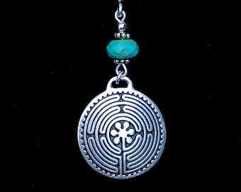 Silver labyrinth pendant, labyrinth necklace, silver and turquoise