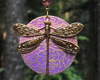 Large unique dragonfly pendant, dragonfly necklace, dragonfly jewelry, large pendant, patina, brass dragonfly, embossed