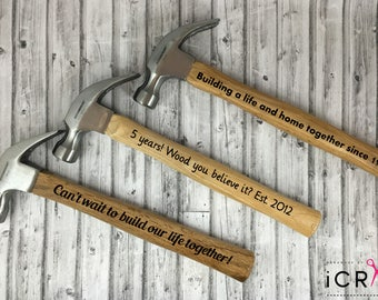 personalized hammers both sides fathers day gift for dad gift for men vinyl hammer hammer with saying new home birthday 5 year anniversary