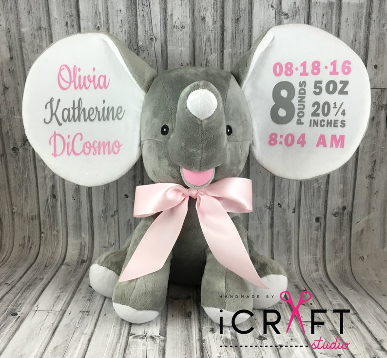 Personalized Baby Elephant-Birth Announcement-Stuffed image 1
