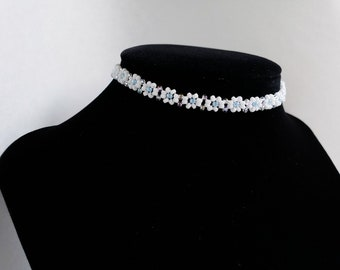 White pink or blue flower seed bead choker