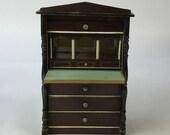 Antique German Dollhouse Drop-front quot Boulle quot Transfer Desk Bureau Secrétaire C1890