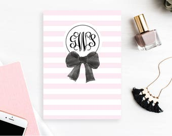 Personalized Dashboard with monogram, Planner, Customized Planner Cover, A5 & Personal Size - Pink Stripes Bow