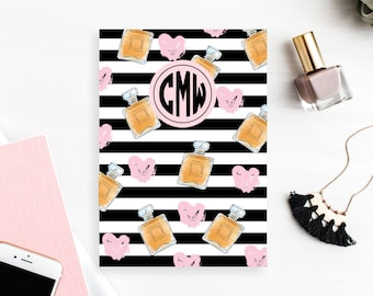 Personalized Dashboard with monogram, Planner, Customized Planner Cover, A5 & Personal Size - Perfume Hearts