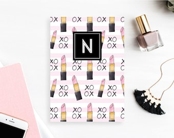 Personalized Dashboard with monogram, Planner, Customized Planner Cover, A5 & Personal Size - Lipstick Kisses