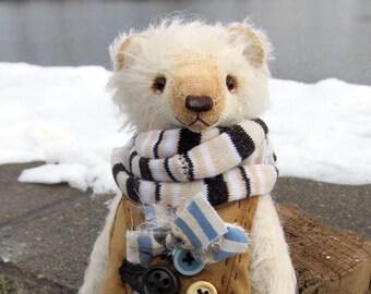 Mohair teddy bear. Vintage teddy bear. Artist teddy bear. Retro teddy bear.