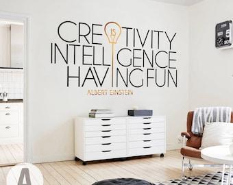 Albert Einstein wall decal // Quotes for office decor / Inspirational wall art / Motivational wall decor / Vinyl decal  sc 1 st  Etsy & Einstein wall art | Etsy