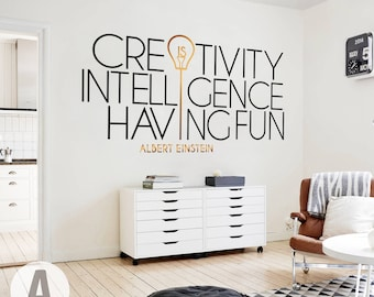 Creativity Is Einstein Quote Motivational Vinyl Wall Art Decal/ Matte Removable Applique/ Temporary Inspirational Typography Word Art