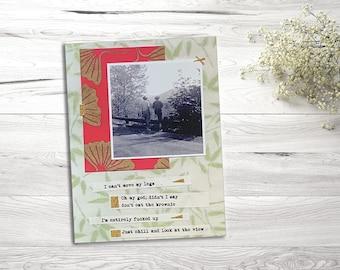 "Large Postcard Art Magnet, Colourful Poetry, Vintage Photographs, Mixed Media Design, 4.25"" X 5.5"""